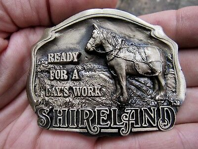 Vtg WORK HORSE Belt Buckle 1988 Hampshire Illinois Shire PARK Bronze RARE VG++