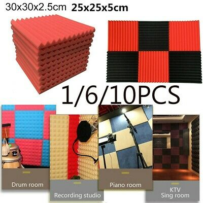 1/6/10Pcs Acoustic Foam Panel Sound Stop Absorption Sponge Studio KTV Soundproof
