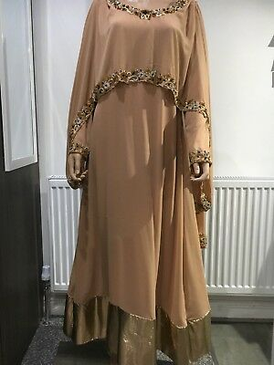 Ladies modest clothing Cape Long Gown diamonte size Medium Nude Pink Used