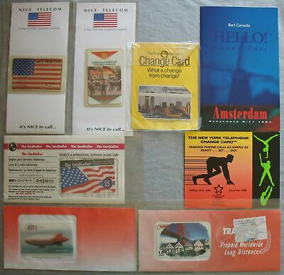 Folder 8 Pieces USA Nynex Bell Nice Telecom Gti Calling Card Mint/New