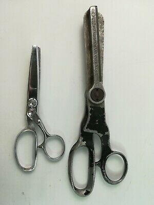 """Vintage 2 Pairs Large Industrial Pinking Shears Corp NYC 11"""" + 7"""" Sewing Craft"""