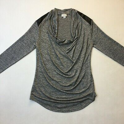 Witchery Grey Marble Scoop Neck Longsleeve Top Leatherette Shoulders Size M