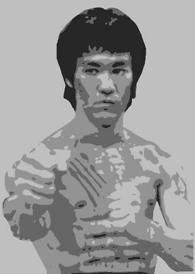Multilayer STEP BY STEP airbrush stencil BRUCE LEE