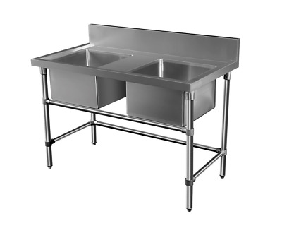 1500mmx700mm Commercial XL Double Bowl Kitchen Sink Bench 304 Stainless Steel