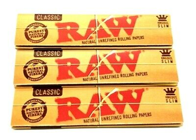 3x Raw Classic King Size Slim Natural Unrefined Rolling Paper $1.53 per Pack!