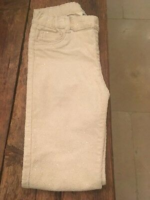 H&M Girl's Sparkly Cream Trousers 8-9 Years VGC