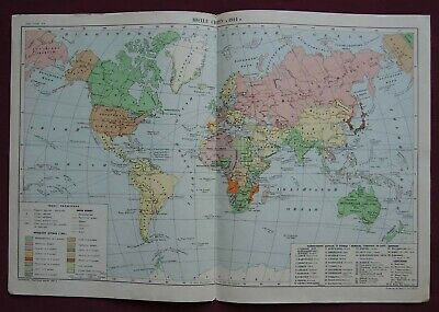 Old CCCP MAP / Political WORLD Division in 1914 / Soviet School POSTER BIG 1951