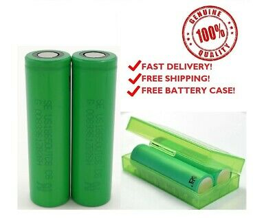 2 Samsung 25R 18650 2500mAh 35A Rechargeable Battery for Vape Mods Free Case Lot