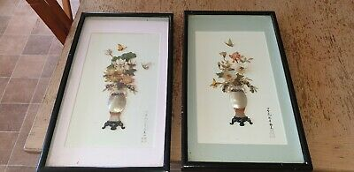 Pair of Chinese Mother Of Pearl Wall Hanging pictures. Flowers & Butterflies