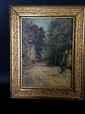 Huile S/Bois Cycliste Marquée Nice, Signée Georges Stein 1900 Oil Painting /wood