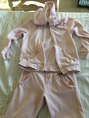 H&M Girl's Pink Velour Hoodie Top & Tracksuit Jogging pants 6-10 Yrs