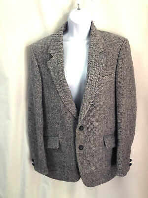 NWT Genuine Harris Tweed 100% Wool Herringbone Grey Blazer Jacket 42 R $369