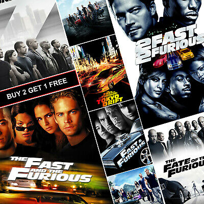 Fast and Furious Movie Posters A4 A3 HD Gloss Prints Fast Five Tokyo Drift Hobbs