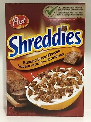 Post Banana Bread Flavoured Shreddies Breakfast Cereal 480g Made in Canada