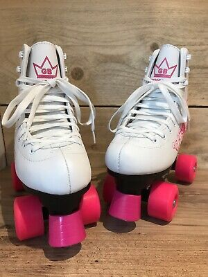 Quad Skates UK size 4 roller boots white & pink excellent condition