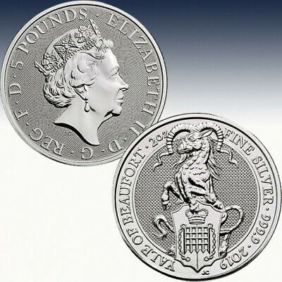 2 Oz Silber Münze 5 Pfd The Queens Beast The Yale of Beaufort 2019