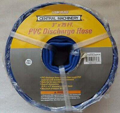 """Central Machinery PVC Discharge Hose 3"""" x 25 ft Braided Reinforcement Blue 95393"""