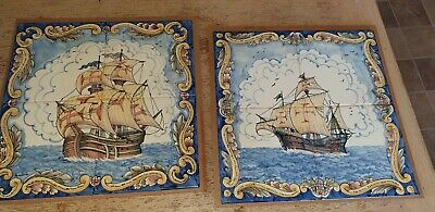 Vintage Pair Of Rustica Portugal Galleon Ship Hand Painted Tiles