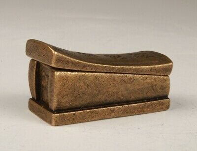 Vintage Chinese Bronze Coffin Box Crafts Home Decor Collection Gift