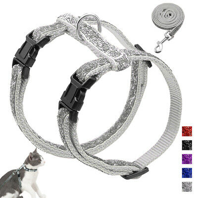 Escape Proof Cat Walking Harness and Leads Sequins Puppy Kitten Strap Harness