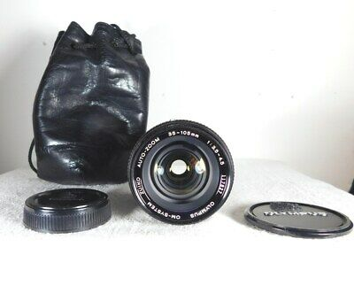 OLYMPUS OM SYSTEM ZUIKO AUTO-ZOOM 35-105mm  f/3.5~4.5 LENS, CAPS & LEATHER POUCH