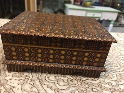 Vintage Antique Hand Carved Wood Jewelry Stash Box