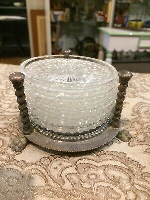 Vintage F.B Rogers Silverplate Ornate Paw Foot Crystal Coasters Set