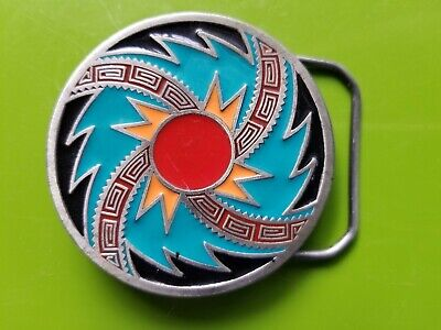 Vintage 1993 Swirling Sunburst Belt Buckle #4009 Great American Enamel Pewter
