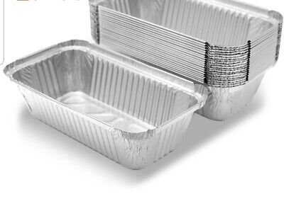 ALUMINIUM FOIL FOOD CONTAINERS+LIDS x 100 No.6 PERFECT FOR HOME AND TAKEAWAY USE