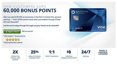 Chase Sapphire Preferred Credit Card Bonus 60K Points Referral