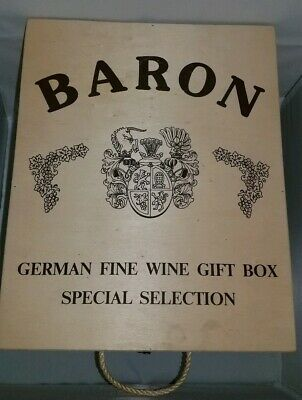 """Baron German Fine Wine Gift Box w/Handle and Latch. 10.25""""×13"""" Pre-owned."""