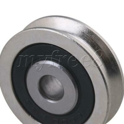 6x30x8mm Black and Silver U Groove Steel Bearing Guide Rail Pulley Round Wheel