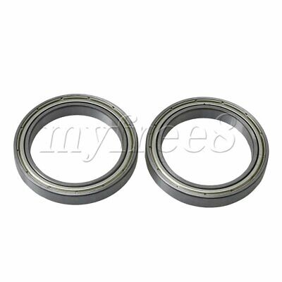 2x Silver Bearing Steel Iron Cover Ball Shielded Bearing 61807ZZ 35mm ID
