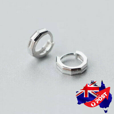 Genuine 925 Sterling Silver Solid 10mm Hoop Ring Sleeper Earrings Ear Piercing