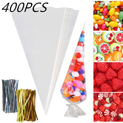 400 Clear Cellophane Cone Bags Large Kids Birthday Party Sweet Sweetie Candy Bag