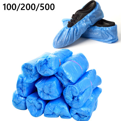 100 Disposable Plastic Blue Waterproof Shoe Covers Cleaning Overshoes Protective