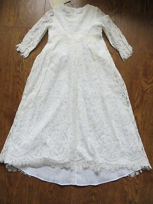 BNWT Girls Monsoon White Renata Dipped Hem Lace Christening Gown Dress 3-6 mnth