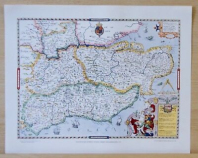 Saxton Map of Kent, Sussex, Surrey, Middx - 1577. Litho Print - Reproduction.