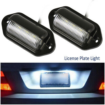 2X LED License Number Plate Light Tail Rear Lamp For Truck Trailer Lorry 12/24V,