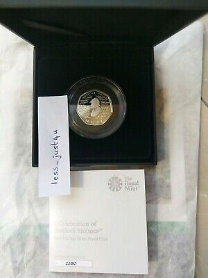 In hand Sherlock Holmes 2019 UK 50p Silver Proof  Coin COA 1180 post today