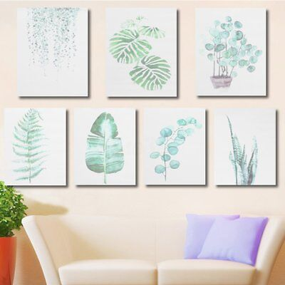 40x50cm Modern Watercolor Green Plant Canvas Painting Palm Leaf Wall Art