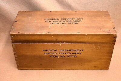 WWII U.S. Army Medical Department Item No. 97750 Wood Box w/Finger Joint Corners