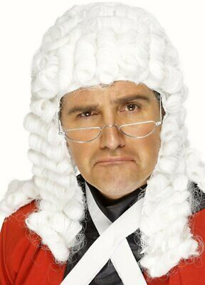 Judges Wig Lawyer White Wig Curls Barrister fancy dress Cosplay