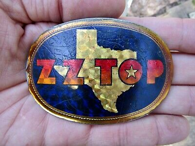 Vtg ZZ TOP Belt Buckle ROCK BAND Pacifica 1977 Tejas Album ART Music RARE VG+