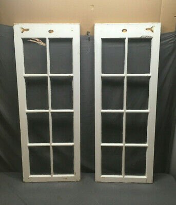 Pair Antique 8 Lite Casement Cabinet Cupboard Window Doors Vtg 56x22 191-19L