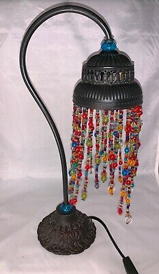 Iron Base Moroccan Vintage Style Swan Neck Table Lamp Light with Beaded Chains