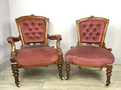 Stunning Pair Of Antique Walnut His & Hers Fireside Chairs M44