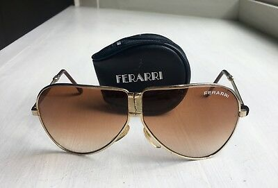 4840c2f7d6 Vintage Ferrari Gold-Frame Aviator Folding Sunglasses w Black Zip Case  1970 s