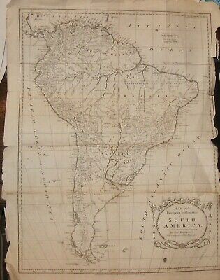 1783 SOUTH AMERICA BRAZIL PERU PARAGUAY &c. Thomas Kitchin Large Original Map