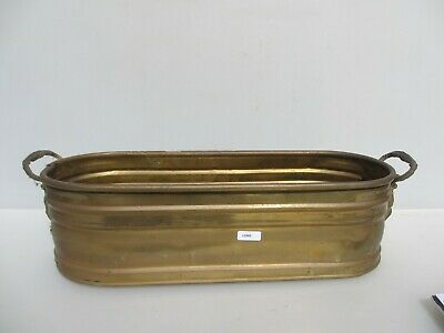 """Vintage Brass Plant Pot Tub Trough Planter Oval Old Winged Angel Handles 19""""W"""